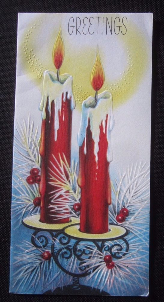 Vintage Christmas Greeting Card With Dripping Candles Mid Century Embossed