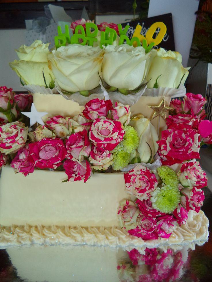 Birthday Cake with white chocolate collar and fresh organic roses