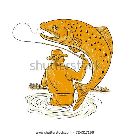 Drawing sketch style illustration of a Fly Fisherman fishing Reeling a spotted brown Trout jumping viewed from rear on isolated background.  #flyfishing #drawing #illustration