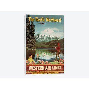 """""""El noroeste pacífico - líneas aéreas occidentales, Skyway al anuncio del vintage de los juegos de los campos occidentales en lona"""