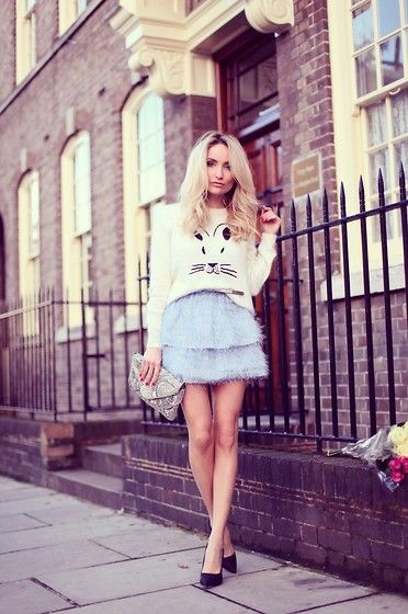 Silvia P. - Topshop Blouse, Topshop Dress, Primark Heels, Primark Purse - Winter blue