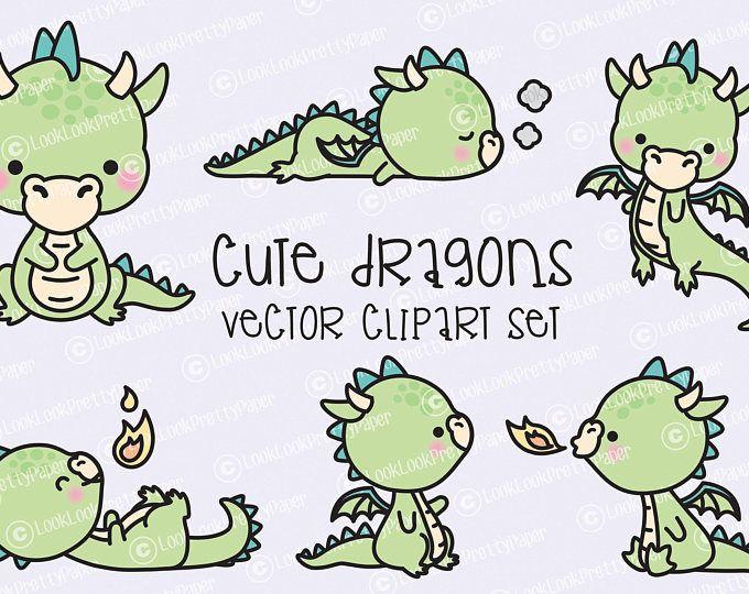 Premium Vector Clipart - dragón Kawaii - conjunto de lindo bebé dragones imágenes prediseñadas - vectores de alta calidad - descarga inmediata - imágenes prediseñadas Kawaii