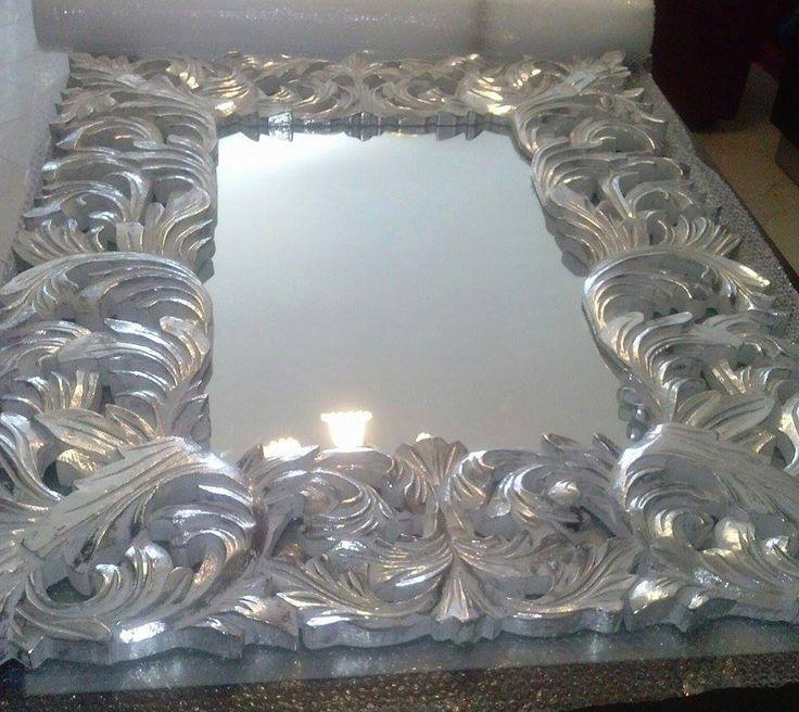 Specchio barocco bianco/argento 120X90 cm Barroque mirror white/silver   #arredamento #casa #specchio #barocco #shabbychic #interiordesign #home #decor #barroque #mirror