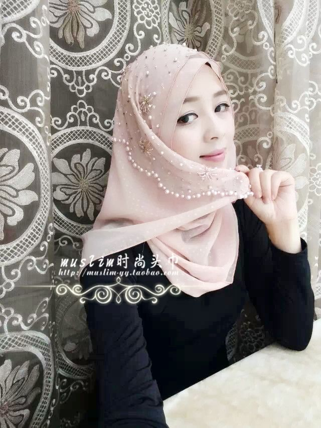 Muslim hijab scarf fashion handmade beaded lotus-pink color high quality beads and scarf