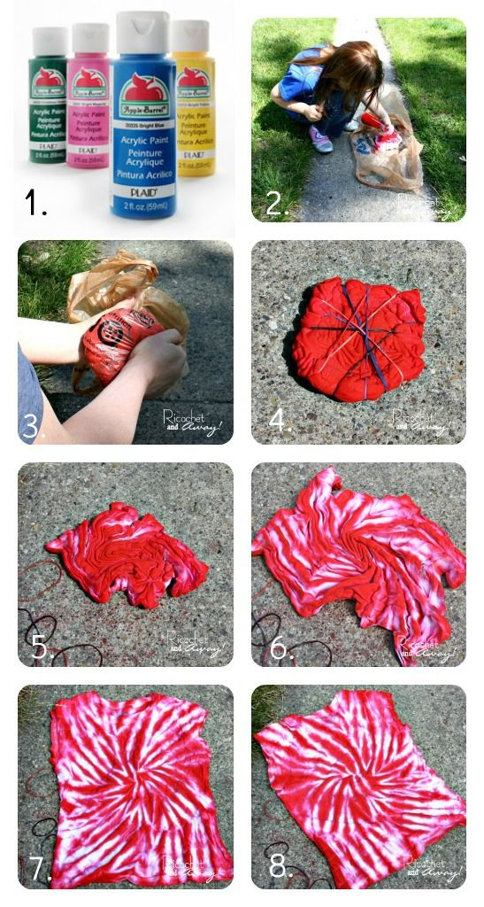 Ricochet and Away!: DIY no dye tie dye.                                                  I must try white paint on dark shirts