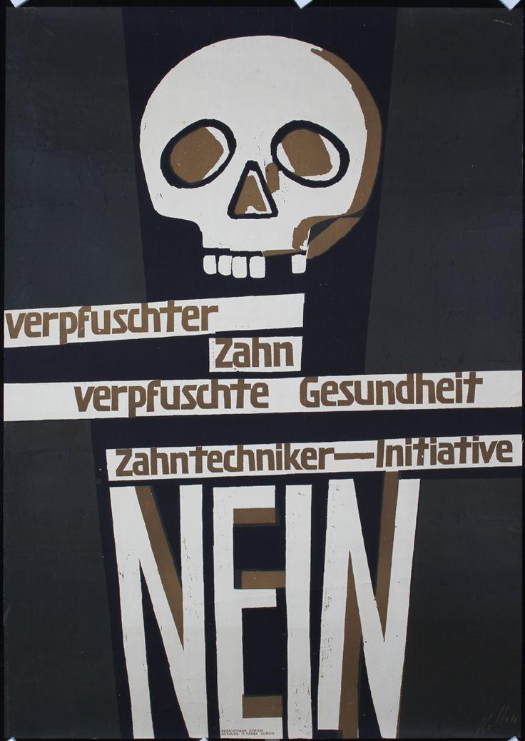 ORIG 1940s ERNST KELLER Swiss Design Dental Poster Skel