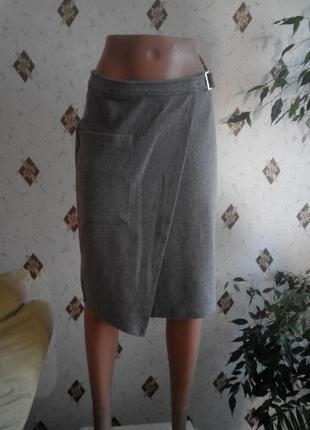 Зимняя тёплая юбка миди на запах цвет меланж s/m