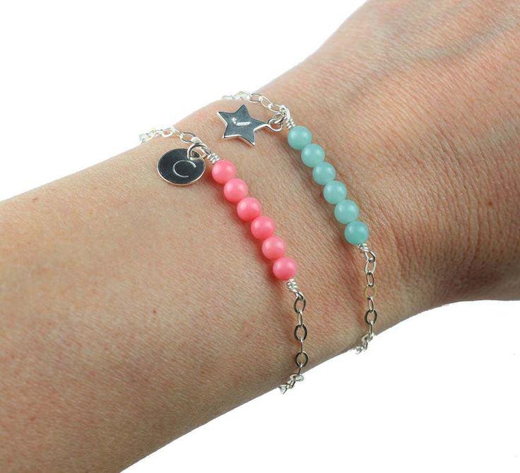 Personalized Bar Bracelet, Gemstone Custom Bracelet, Initial Silver Bracelet, Initial Jewelry, Mothers Day Gift, Gift for Her, Gift for Mom by ILgemstones on Etsy