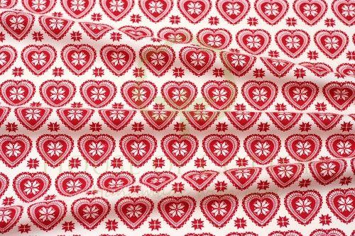 Bawełna serca skandynawskie biało-czerwone / White & red X-mas scandinavian hearts snowflakes cotton fabric