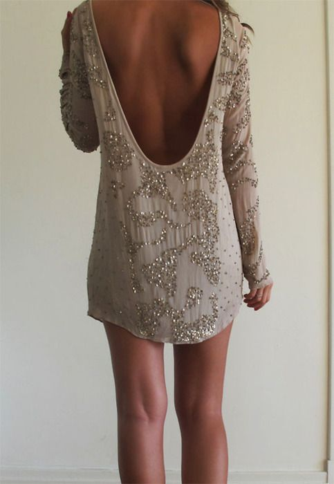 low back + backless + sequin + embroidered + taupe + nude + mini dress + long sleeves