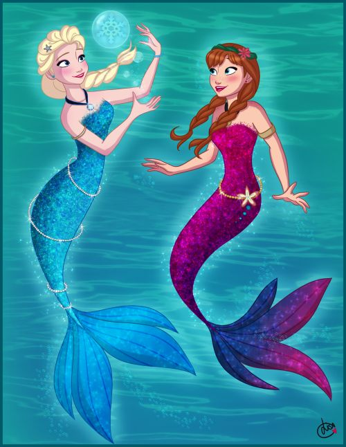 They should make a mashup of the little mermaid and frozen where Elsa loses her posers and her and Anna are turned into mermaids by Hans who gained evil powers and Ariel is human with elsas powers and freezes the ocean and they have to work together to try to save the ocean.