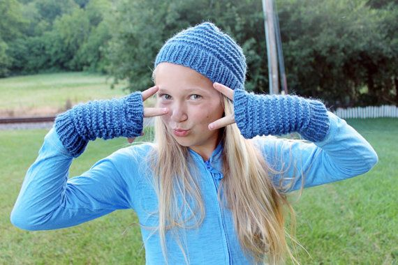 Matching Blue Knit Hat and Gloves for Kids by TinkerCreekHandknits
