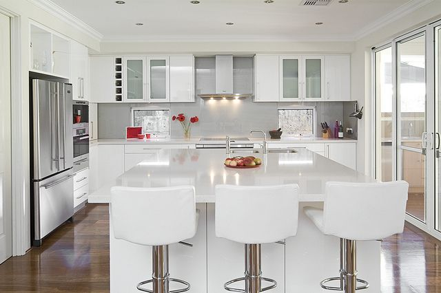 My dream kitchen!! White gloss kitchen design with wooden floors | Flickr - Photo Sharing!