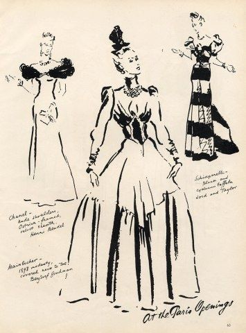 1938 Fashion by René Bouët Williamez Chanel Mainbocher & Schiaparelli dress