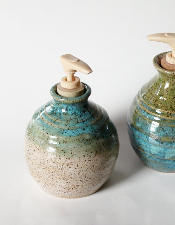 Liquid Soap Dispenser Pottery Jar // Large  Holds by MissPottery, $28.00