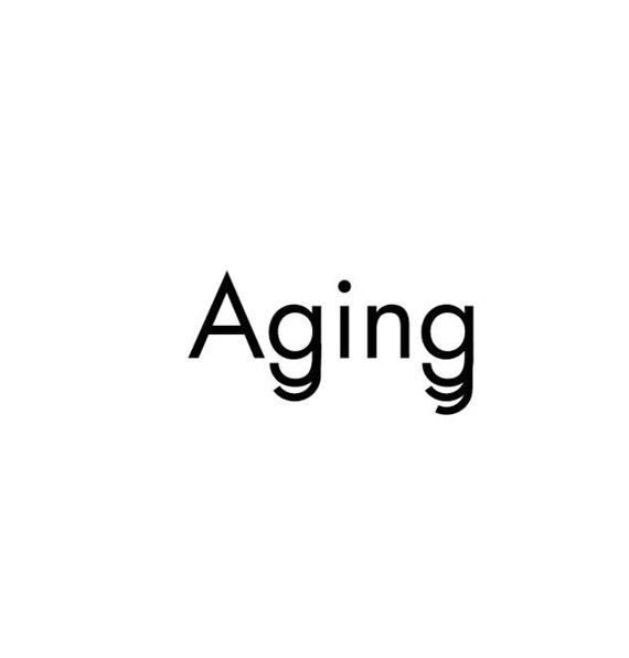 The letters 'g' in the word 'aging' are embellished with extra descenders to given the idea of wrinkles that occur with aging. I believe it helps to reinforce the meaning behind the word. ___________________ ________  By Ji Lee