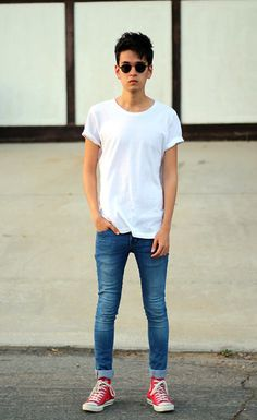 H&M Tee, Topman Skinny Jeans, Converse High Tops