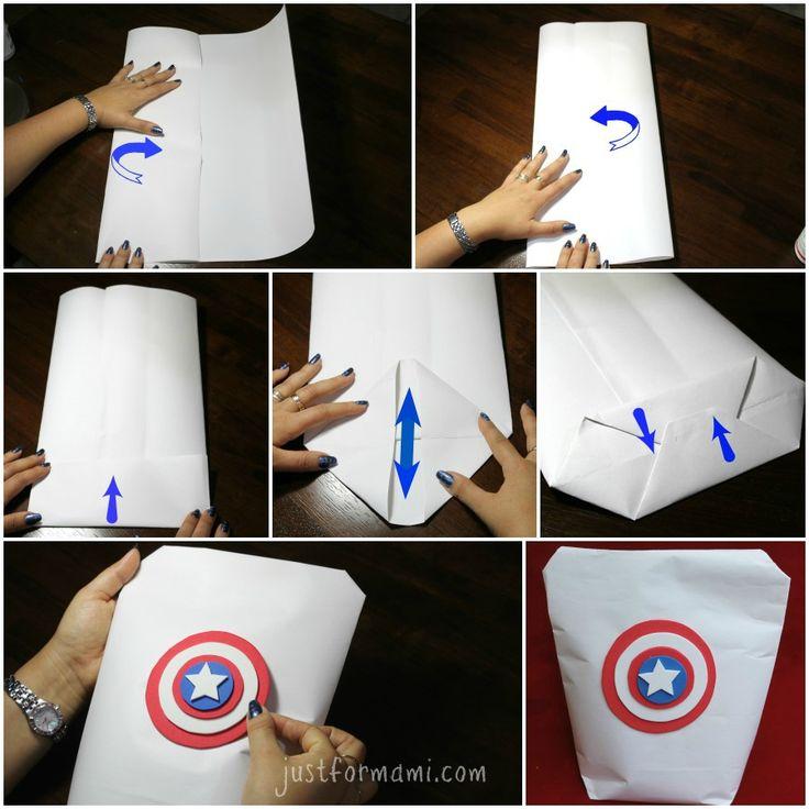 Tarjeta y Bolsa de Regalo hechas de papel del Capitán América con escudo de foam. Puedes también usarlas como bolsas de sorpresa para fiesta de cumpleaños con tema de superhéroes.