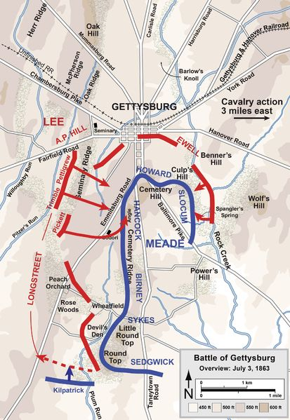 Map of the third and final day during the Battle of Gettysburg. [Union is in blue and Confederacy is in red.] Map Credit: Hal Jespersen, cwmaps.com