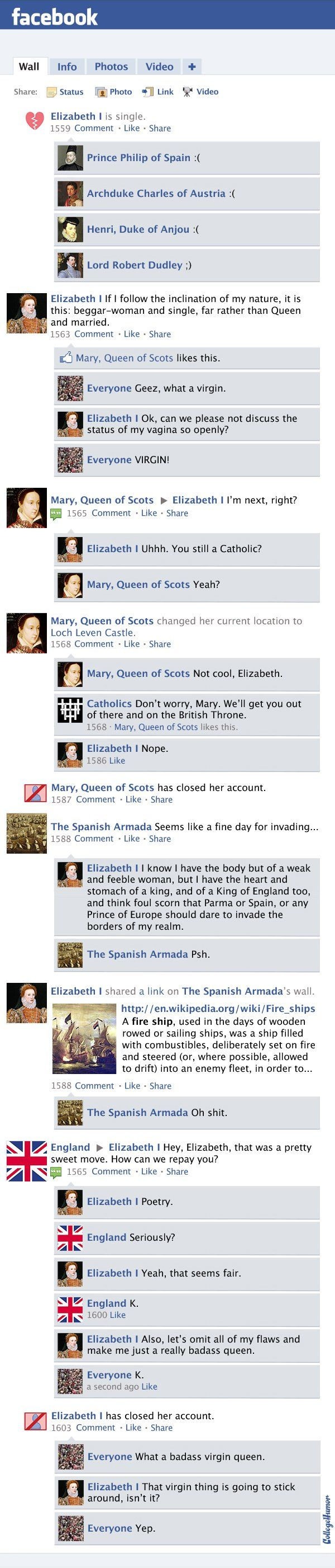 Facebook News Feed History of the World: Protestant Reformation Through Queen Elizabeth I (Page 4) - CollegeHumor Post