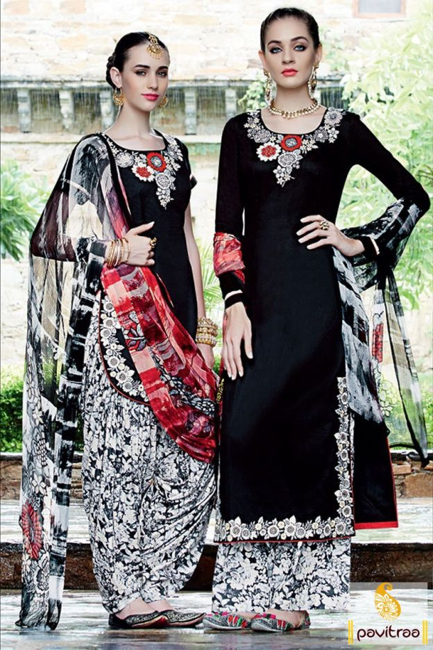 Build a great fancy style with attractive black satin traditional punjabi patiala salwar suit. This suit is really very fancy with thread work and chic dupatta.