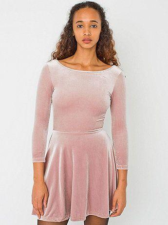 Stretch Velvet Skater Dress