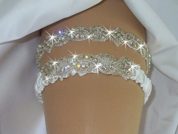 Garters, Wedding, Wedding Garter, Wedding Garter Set w/ Crystals, Wedding Garder, Wedding, Crystal Garter, Blue Bow,  Rhinestone Garter,