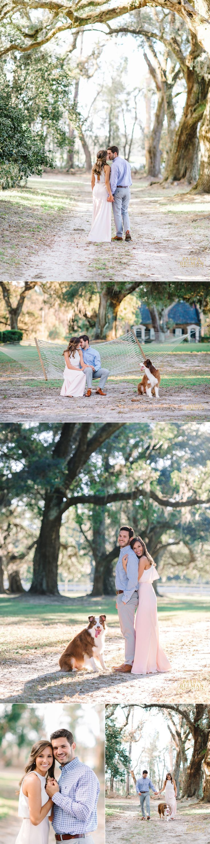Mansfield Plantation | Live Oaks | Fine Art Film Inspired Photography | Engagement Photography | Charleston | Georgetown | Myrtle Beach | Engagement Photography Idea with Dogs | Film Inspired Engagement Photography | Spanish Moss Engagement Session  Best Engagement Shoot Poses, Favorite Poses for Engagement Shoots, Engagement Shoot Photo Inspiration in Charleston | Myrtle Beach | Wilmington | Columbia | South Carolina  Photographer: Pasha Belman Photography
