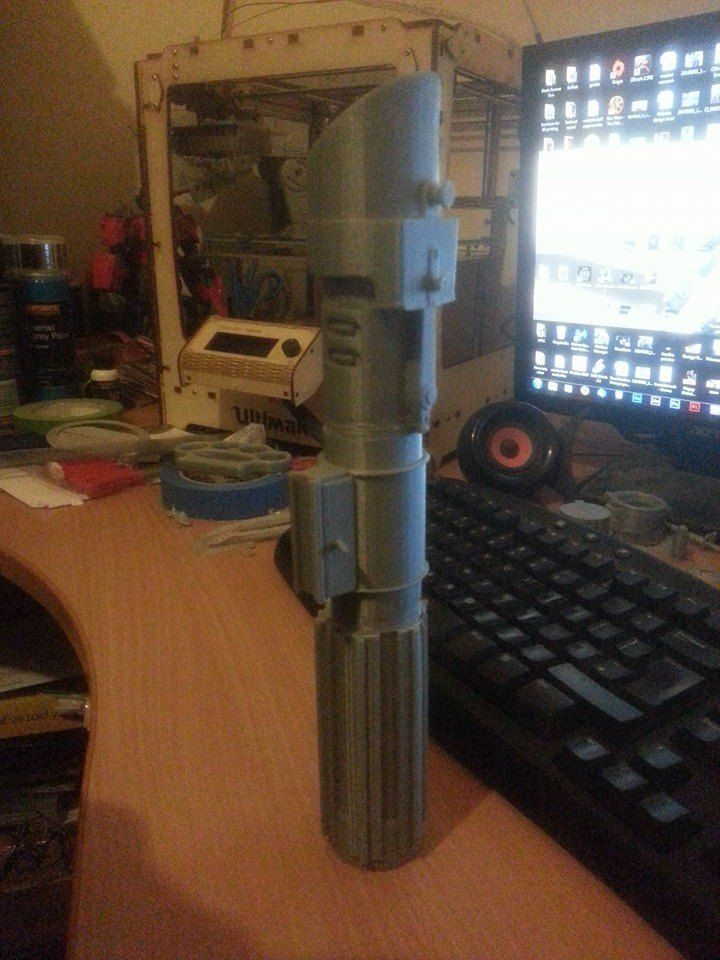 The unpainted 3D Print of the Vader style saber.