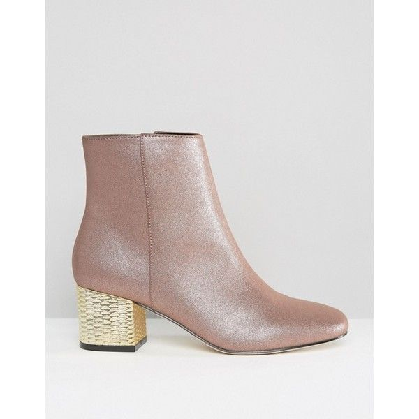 ASOS RAND Heeled Ankle Boots ($37) ❤ liked on Polyvore featuring shoes, boots, ankle booties, square-toe boots, square toe booties, side zip boots, metallic ankle boots and glitter booties