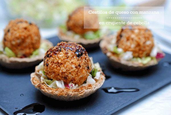 Tía Alia Recetas: Cestillos de queso y manzana en crujiente de cebolla