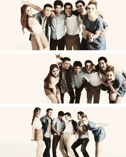 Cast of Teen Wolf; Holland Roden as Lydia Martin, Colton Haynes as Jackson, Tyler Posey as Scott McCall, Dylan O'Brien as Stiles Stilinski, Tyler Hoechlin as Derek Hale, Crystal Reed as Alison Argent.
