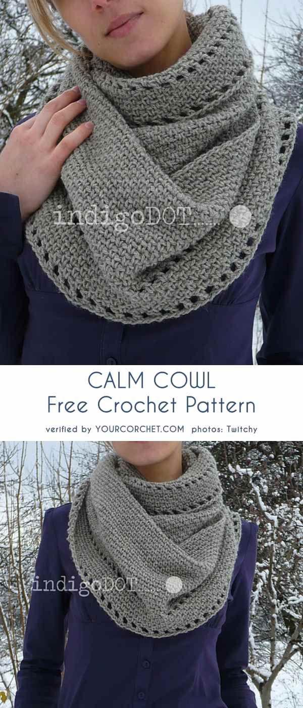 Calma Cowl Free Crochet Padrão