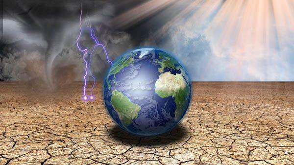Mediante esta imagen del planeta Tierra descansando sobre suelos agrietados, con rayos y un remolino cercanos, y un resplandor celestial en el fondo, se ilustra la Página de archivos en PDF para el comentario Apocalipsis: análisis de las profecías y visiones, en editoriallapaz.org.