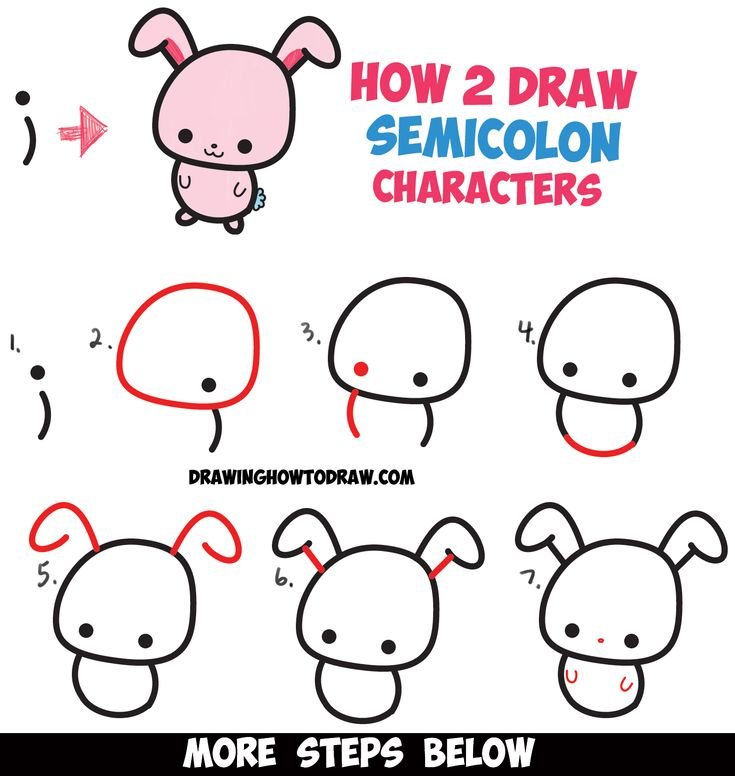 """How to Draw a Cute Easy Cartoon Kawaii Bunny Rabbit from a Semicolon """" ; """" - Simple Step by Step Drawing Tutorial for Kids"""
