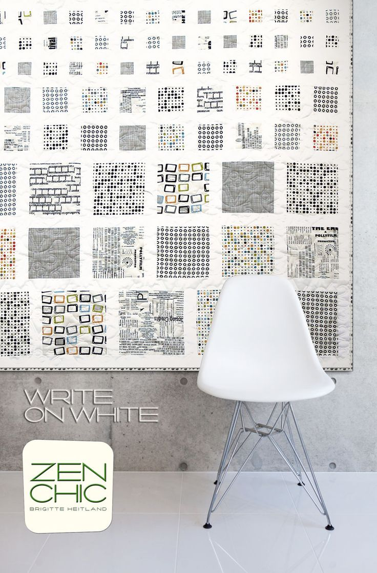 Simplicity at it's best: Like a quilter's eye chart the scale of the squares becomes smaller and smaller. This quilt WRITE ON WHITE features only the white fabric scale of the REEL TIME collection by ZEN CHIC