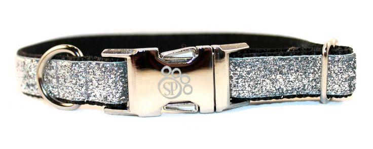 Silver dog collar - Bling Dog Collar - Celebri-Pup Silver Glitter Dog Collar - metal buckle dog collar - sparkly dog collar