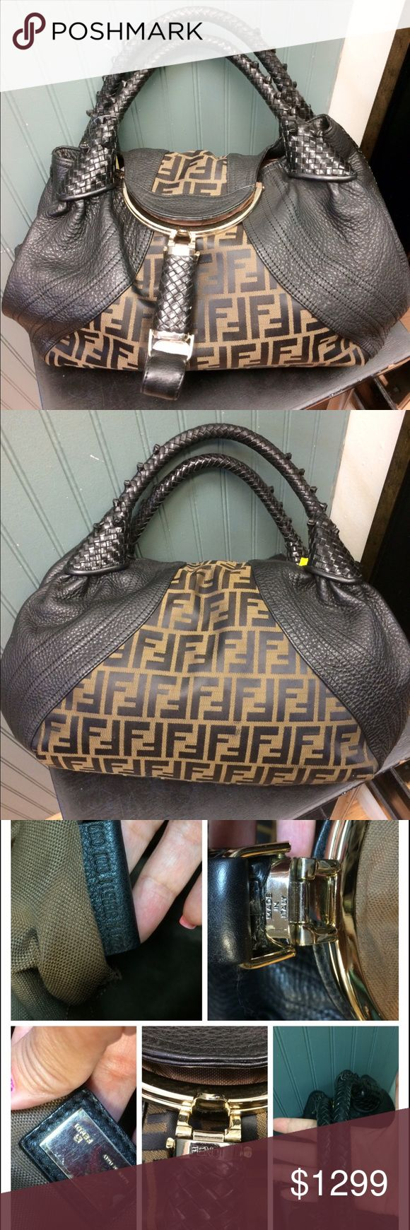 Authentic Fendi Spy bag monogram w/ leather large Great condition.  Outside has no blemish at all.  The inside has a few pen marks which can be cleaned.  No smell.  No dust bag or box FINAL SALEtrade value higher FENDI Bags Hobos
