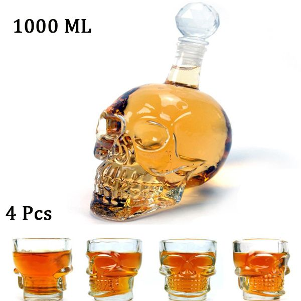 Skull Head Whisky Glass Bottle +4PCS Crystal Vodka Skull Glass Cup