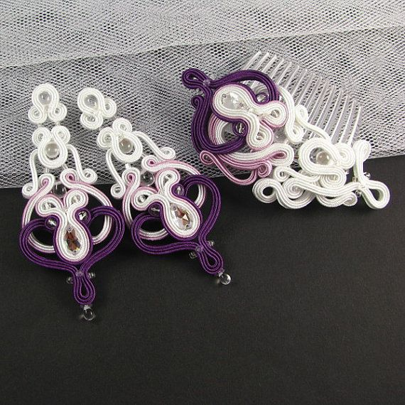 Hey, I found this really awesome Etsy listing at https://www.etsy.com/listing/188792251/bridal-earrings-hair-comb-soutache