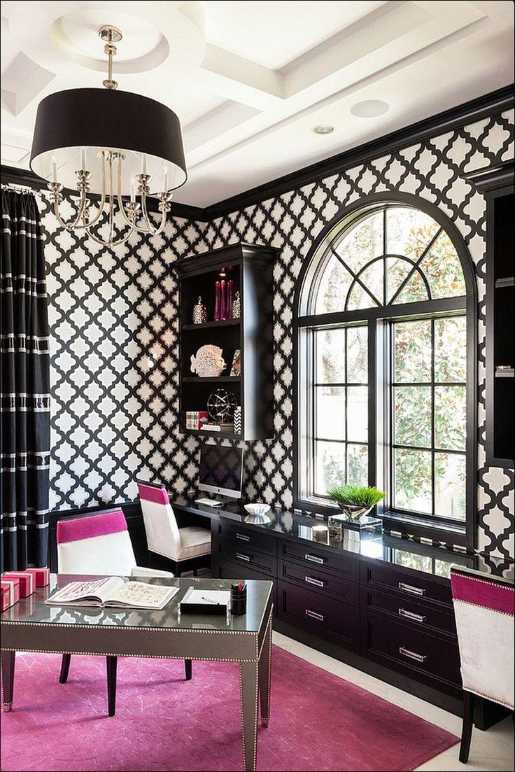 Домашние офисы с черным и белым