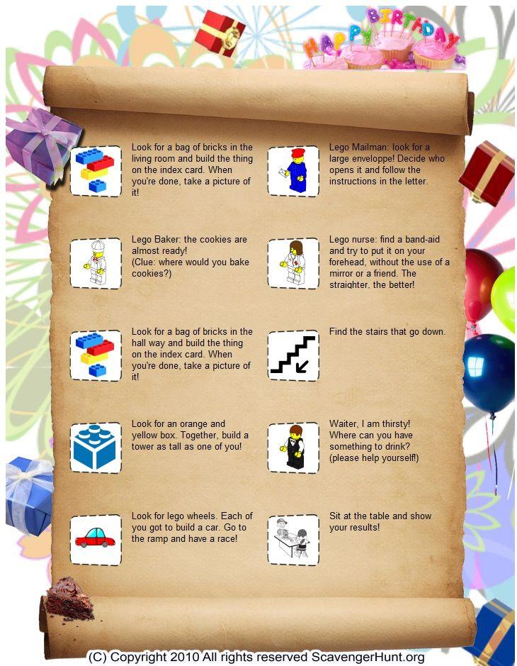 Lego themed scavenger hunt-scavenger hunt  list