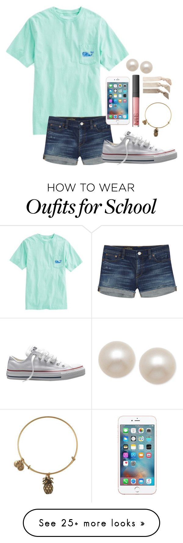 """Day 2-Last Day of School"" by whalesandprints on Polyvore featuring Vineyard Vines, J.Crew, Converse, Alex and Ani, NARS Cosmetics, Honora, Emi-Jay and funinthesunwithmollyandellie"