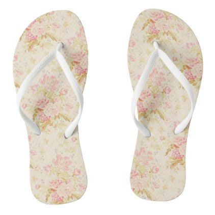 Vintage Style Floral Flip Flops - patterns pattern special unique design gift idea diy