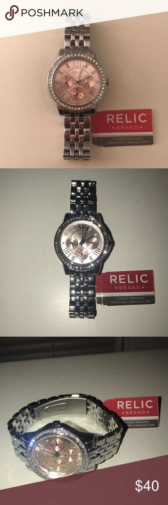 Relic Watch New, Never Worn, Relic Brand Watch, Limited Warranty, Silver, Light Pink, and Diamonds Relic Accessories Watches