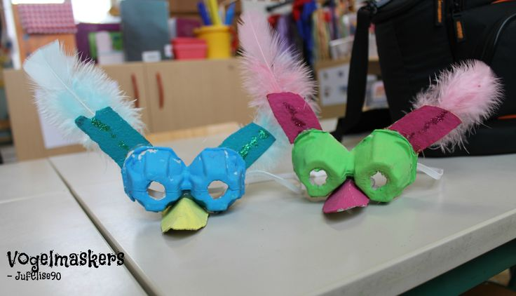 Vogelmaskers uit eierdozen -JufElise90