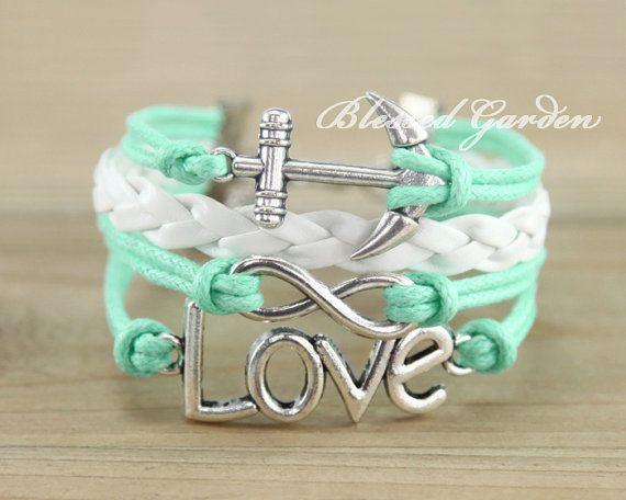 bracelet,Infinity bracelet, mint bracelet ,anchor bracelet, infinity love,aqua bracelet, bridesmaid bracelet, friendship gift on Etsy, $7.59