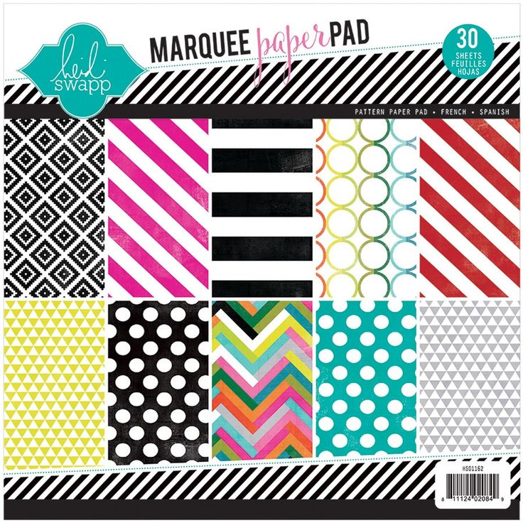 """American Crafts Heidi Swapp Single-Sided Paper Pad 8.5""""X8.5"""" 30/Pkg-Marquee - marquee love, 10 designs/3 each, Marquee Love/10 Designs/3 Each marquee love/ 10 designs/3 each"""