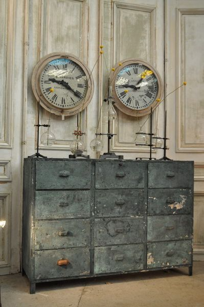 I LOVE THIS. 1900 metal  painted industrial  furniture From FarFetchers.com Please