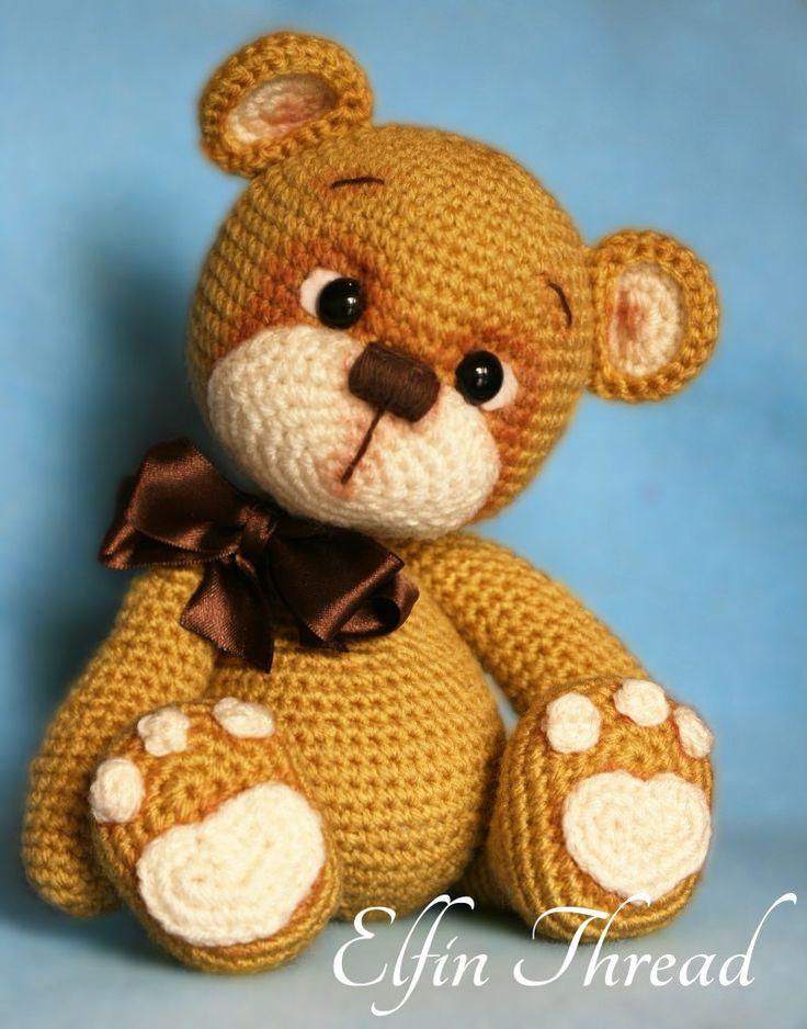 Pattern available at www.etsy.com/listing/226679844/elfin-thread-teddy-bear-am...